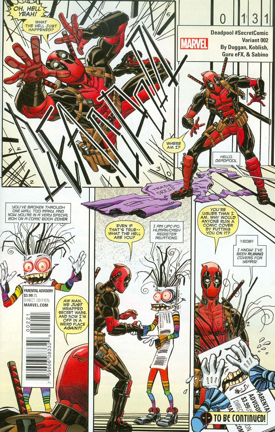 Deadpool Vol 5 #2 Cover B Variant Scott Koblish Secret Comic Cover