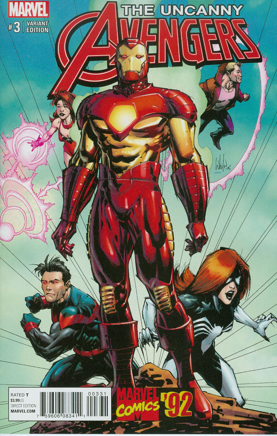 Uncanny Avengers Vol 3 #3 Cover B Incentive Whilce Portacio Marvel 92 Variant Cover