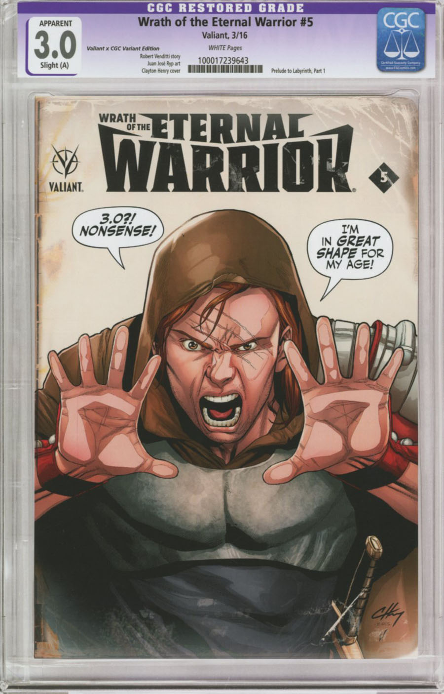 Wrath Of The Eternal Warrior #5 Cover C Variant Clayton Henry Valiant x CGC Replica Cover