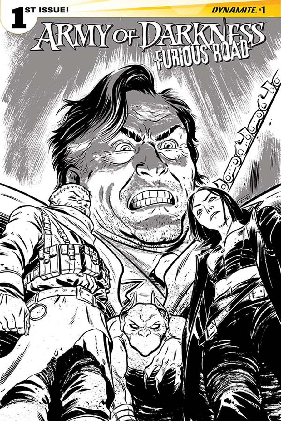 Army Of Darkness Furious Road #1 Cover F Incentive Tyler Crook Black & White Cover