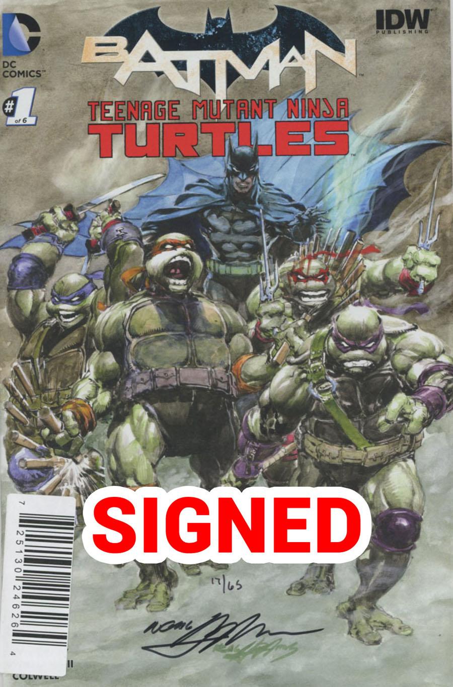 Batman Teenage Mutant Ninja Turtles #1 Cover I DF Exclusive Neal Adams Color Variant Cover Signed By Neal Adams