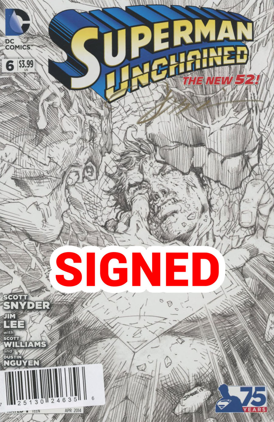 Superman Unchained #6 Cover N DF New Jersey Expo VIP Ultra Limited Edition Signed By Jim Lee