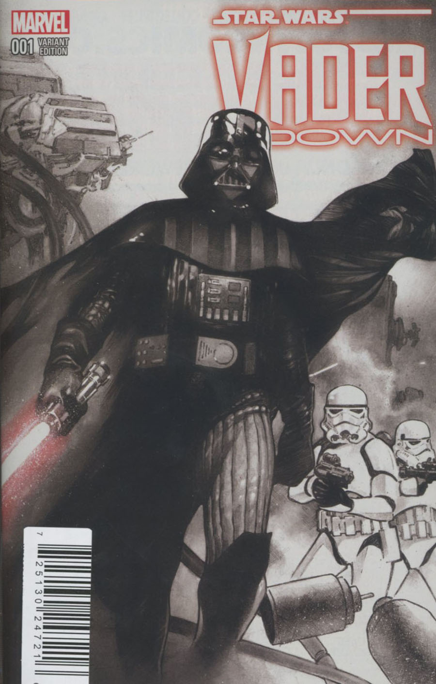 Star Wars Vader Down #1 Cover L DF Exclusive Olivier Coipel Black & White Cover Plus 1 (Vader Down Part 1)