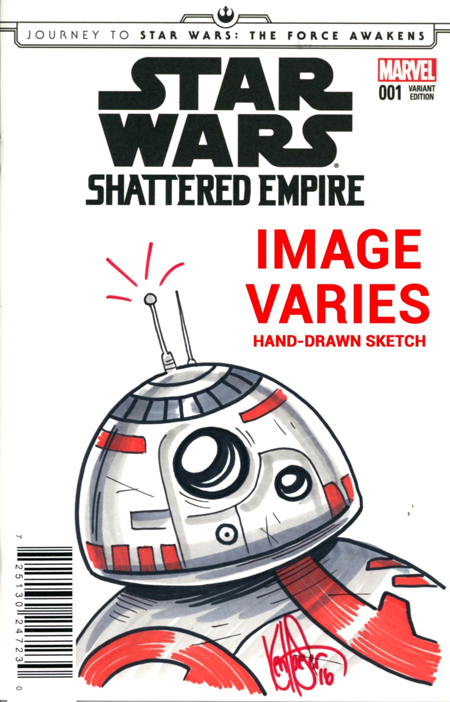 Journey To Star Wars Force Awakens Shattered Empire #1 Cover I DF BB-8 Color Sketch Signed & Remarked By Ken Haeser
