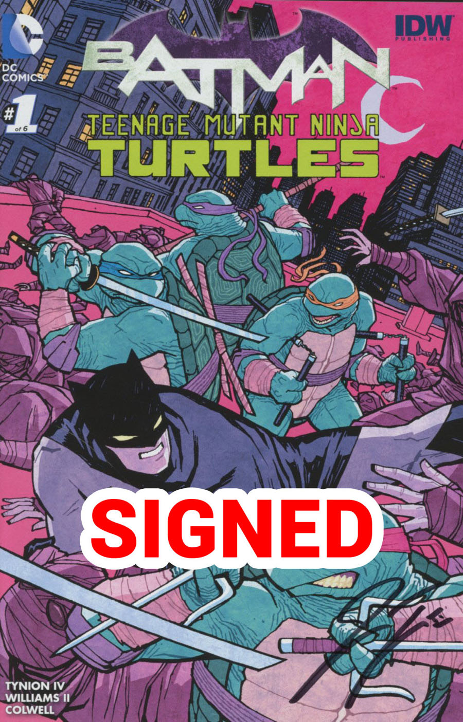 Batman Teenage Mutant Ninja Turtles #1 Cover Q Midtown Exclusive Cliff Chiang Color Variant Cover Signed By James Tynion IV