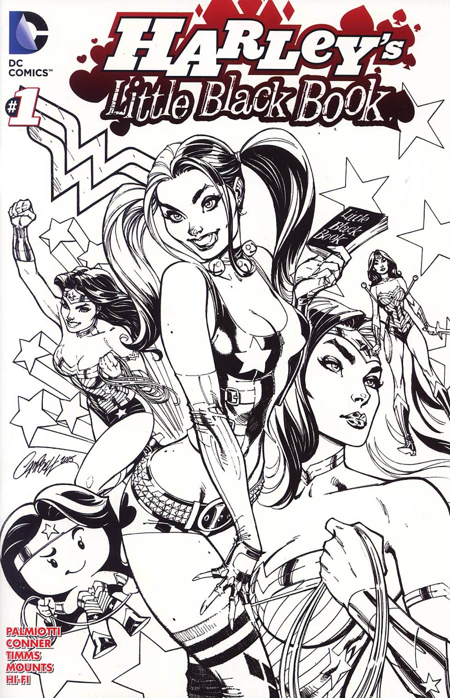 Harleys Little Black Book #1 Cover D Variant J Scott Campbell Harley Quinn Cover Without Polybag Black and White