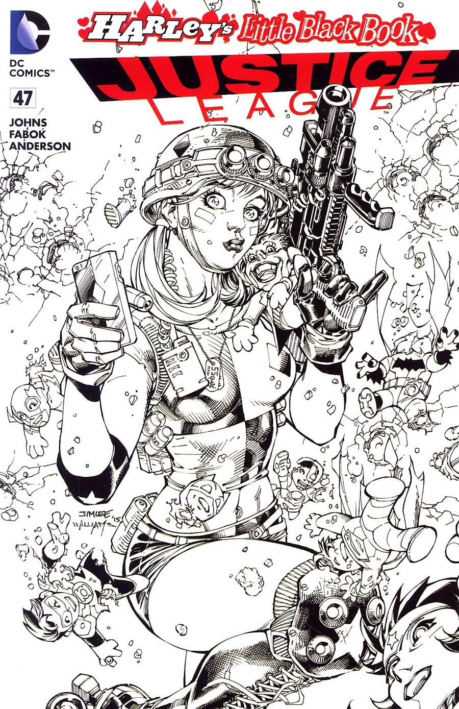 Justice League Vol 2 #47 Cover D Variant Jim Lee Harley Quinn Cover Without Polybag Black and White
