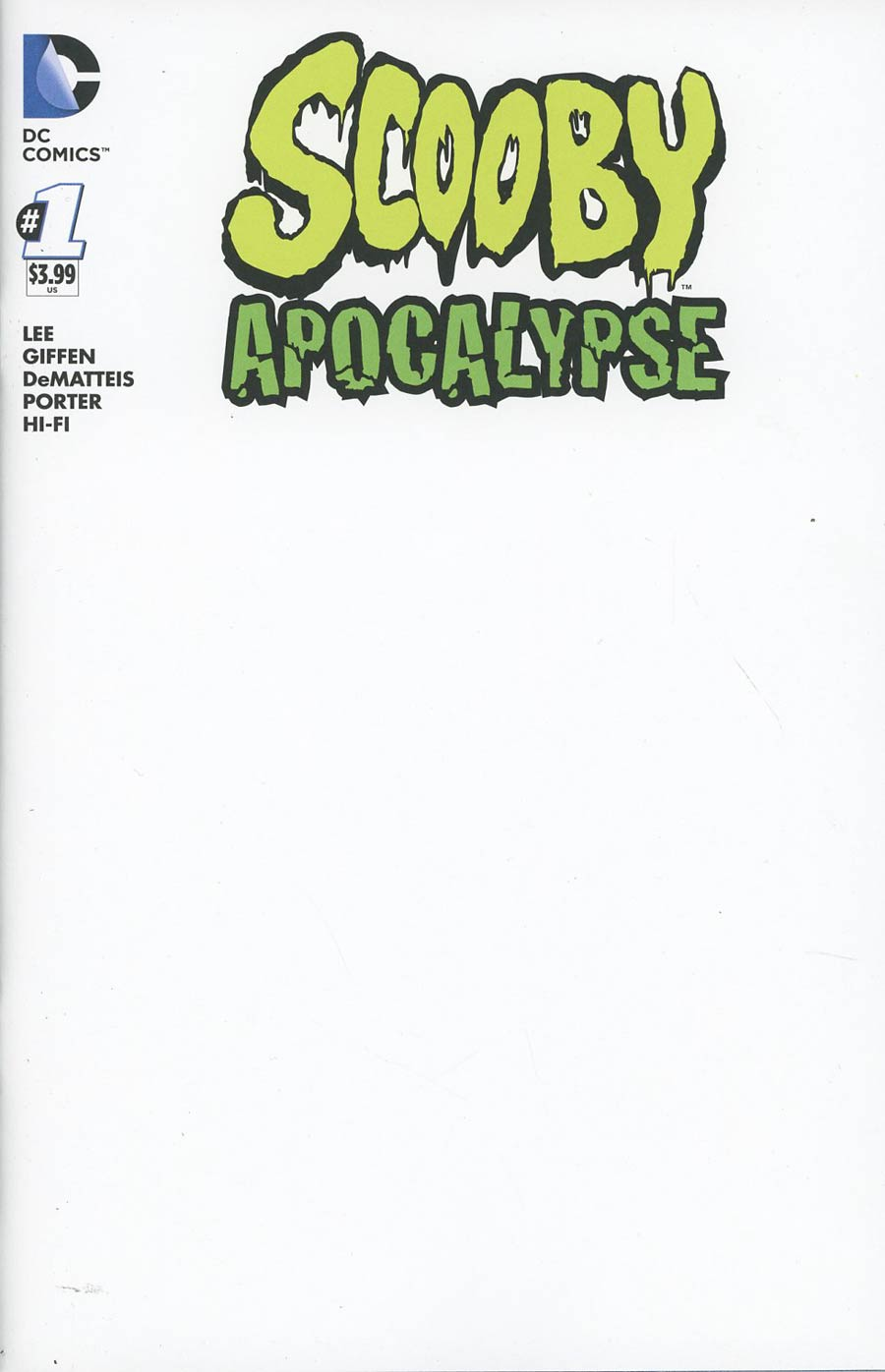 Scooby Apocalypse #1 Cover B Variant Blank Cover