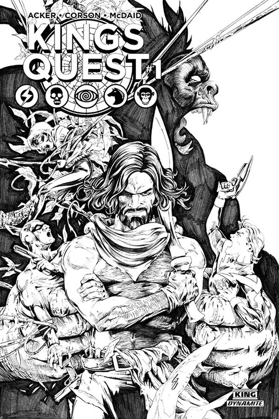 Kings Quest #1 Cover G Incentive Jonathan Lau Black & White Cover