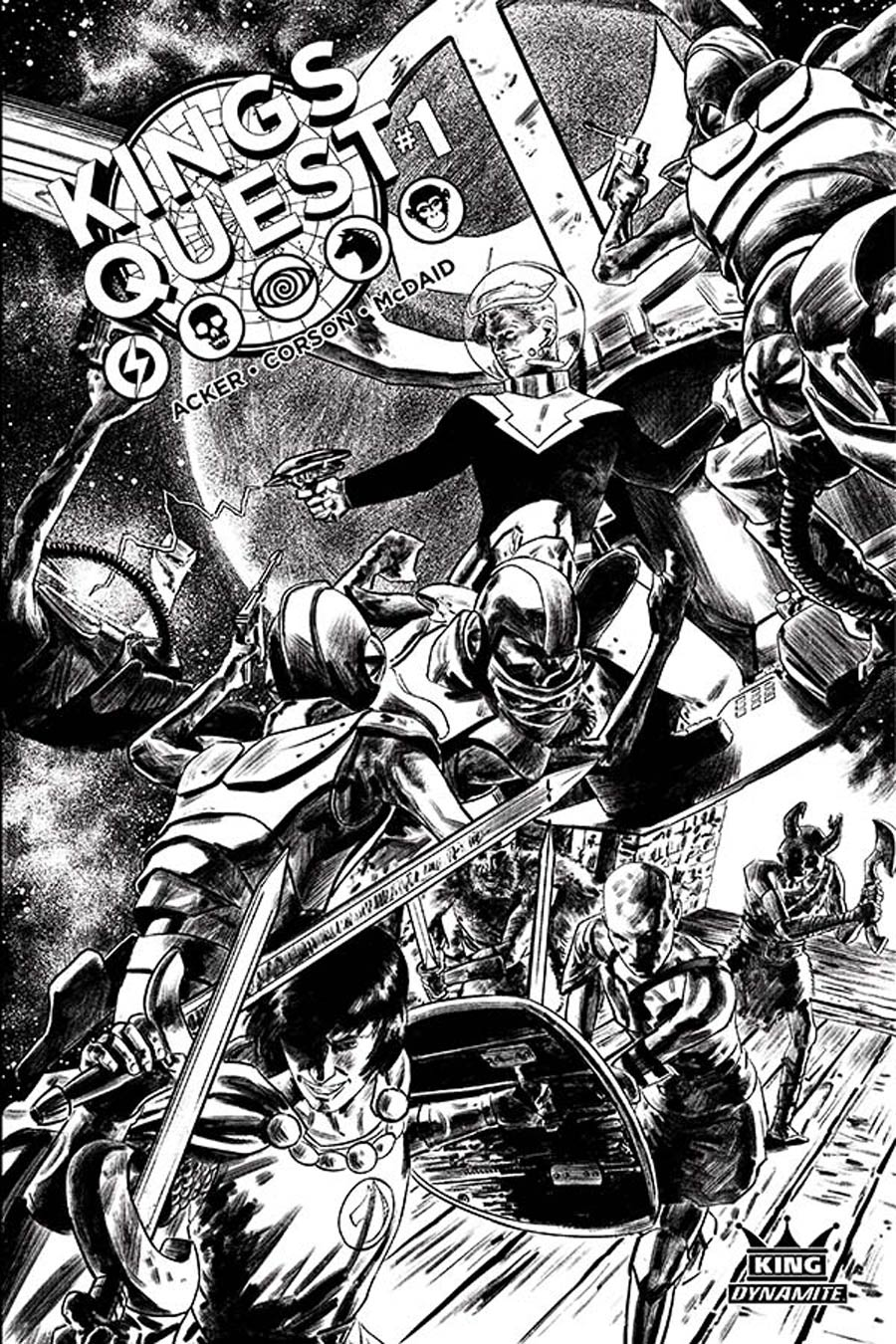 Kings Quest #1 Cover H Incentive Colton Worley Black & White Cover