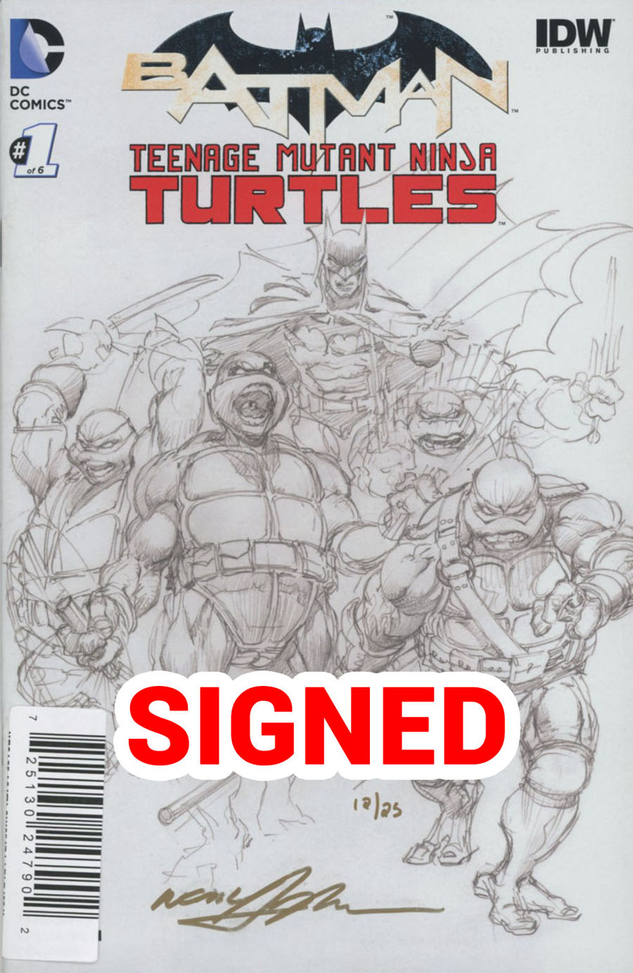 Batman Teenage Mutant Ninja Turtles #1 Cover O DF Exclusive Ultra-Limited Gold Signature Series Signed By Neal Adams