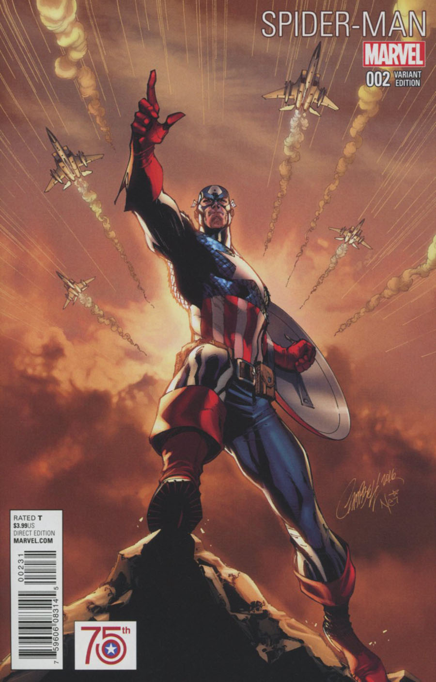 Spider-Man Vol 2 #2 Cover C Incentive J Scott Campbell Captain America 75th Anniversary Variant Cover