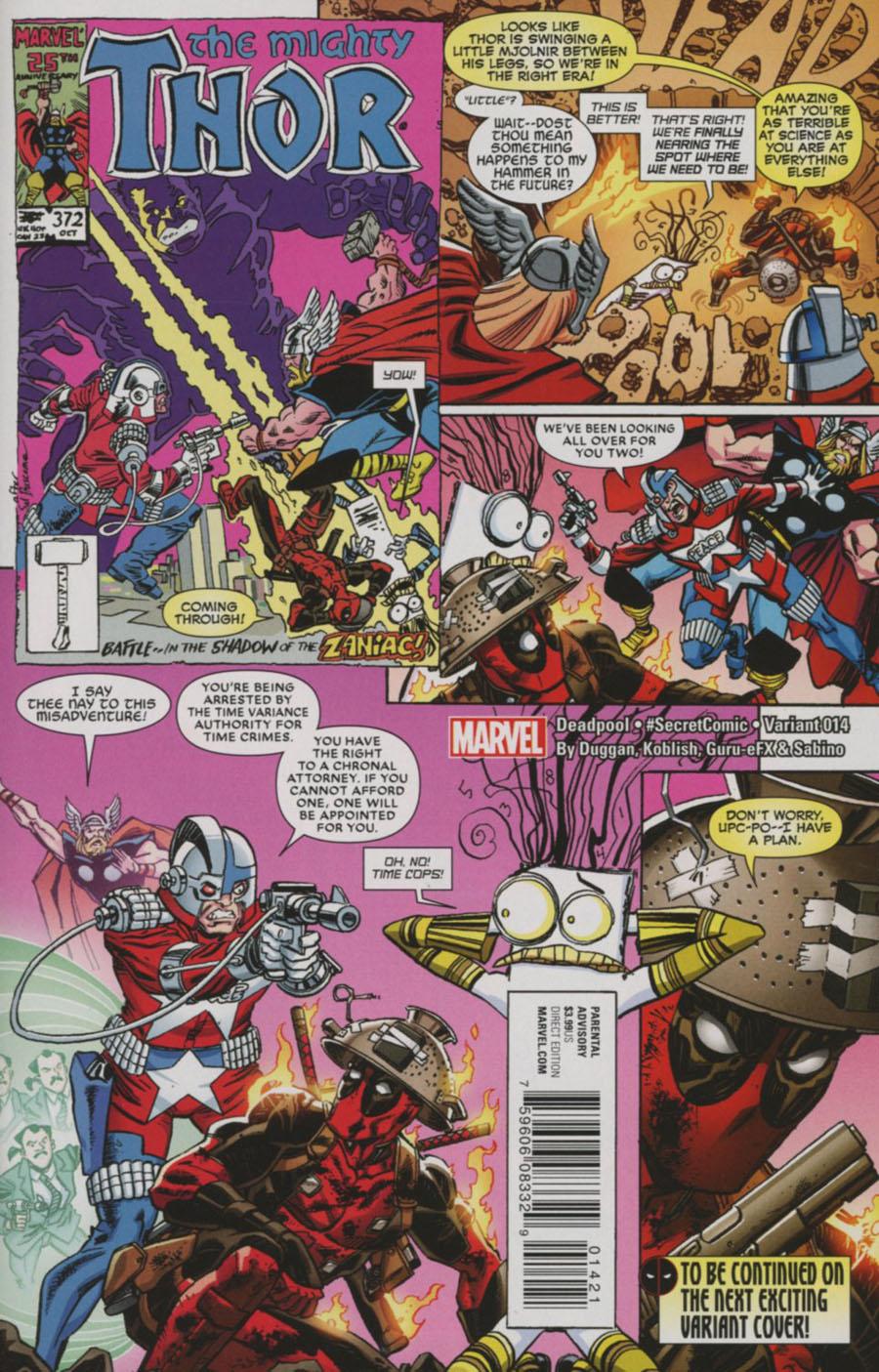 Deadpool Vol 5 #14 Cover B Variant Scott Koblish Secret Comic Cover (Civil War II Tie-In)