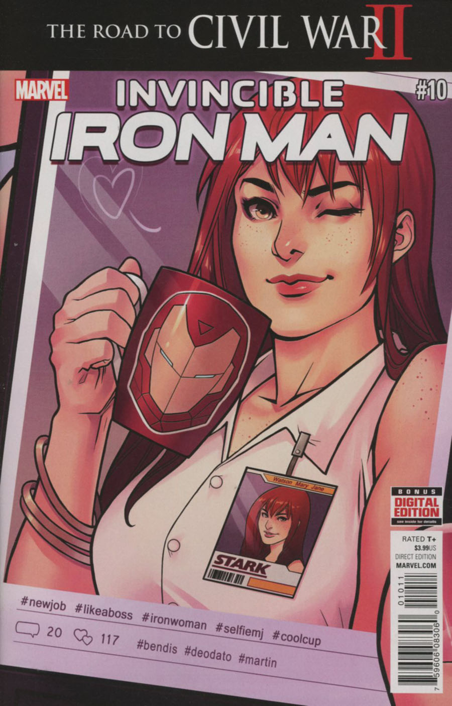 Invincible Iron Man Vol 2 #10 Cover A 1st Ptg Regular Mike Deodato Jr Cover (Road To Civil War II Tie-In)
