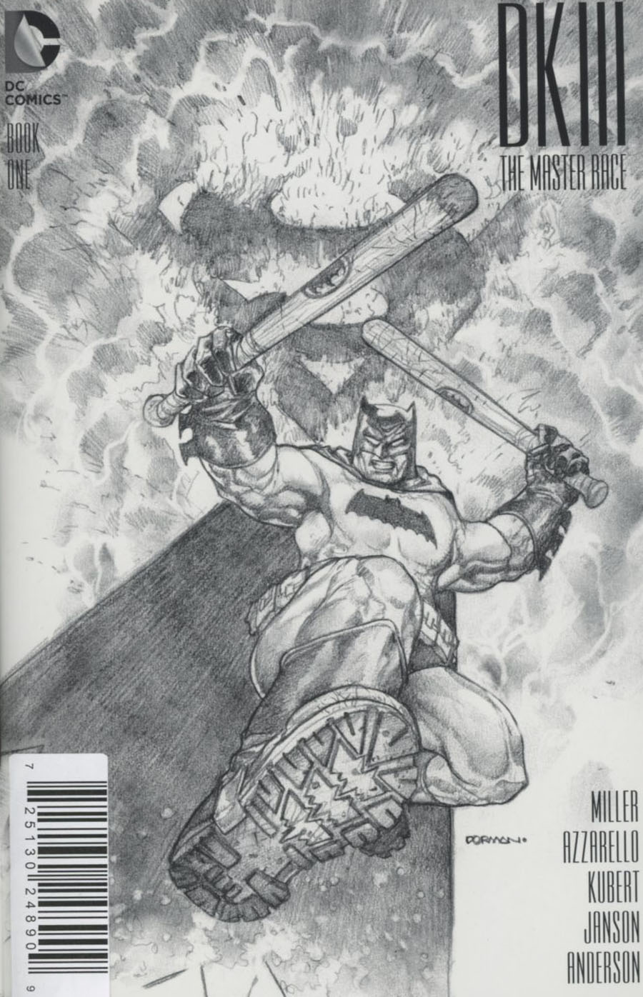 Dark Knight III The Master Race #1 Cover Z-Y DF M&M Exclusive Dave Dorman Black & White Variant Cover