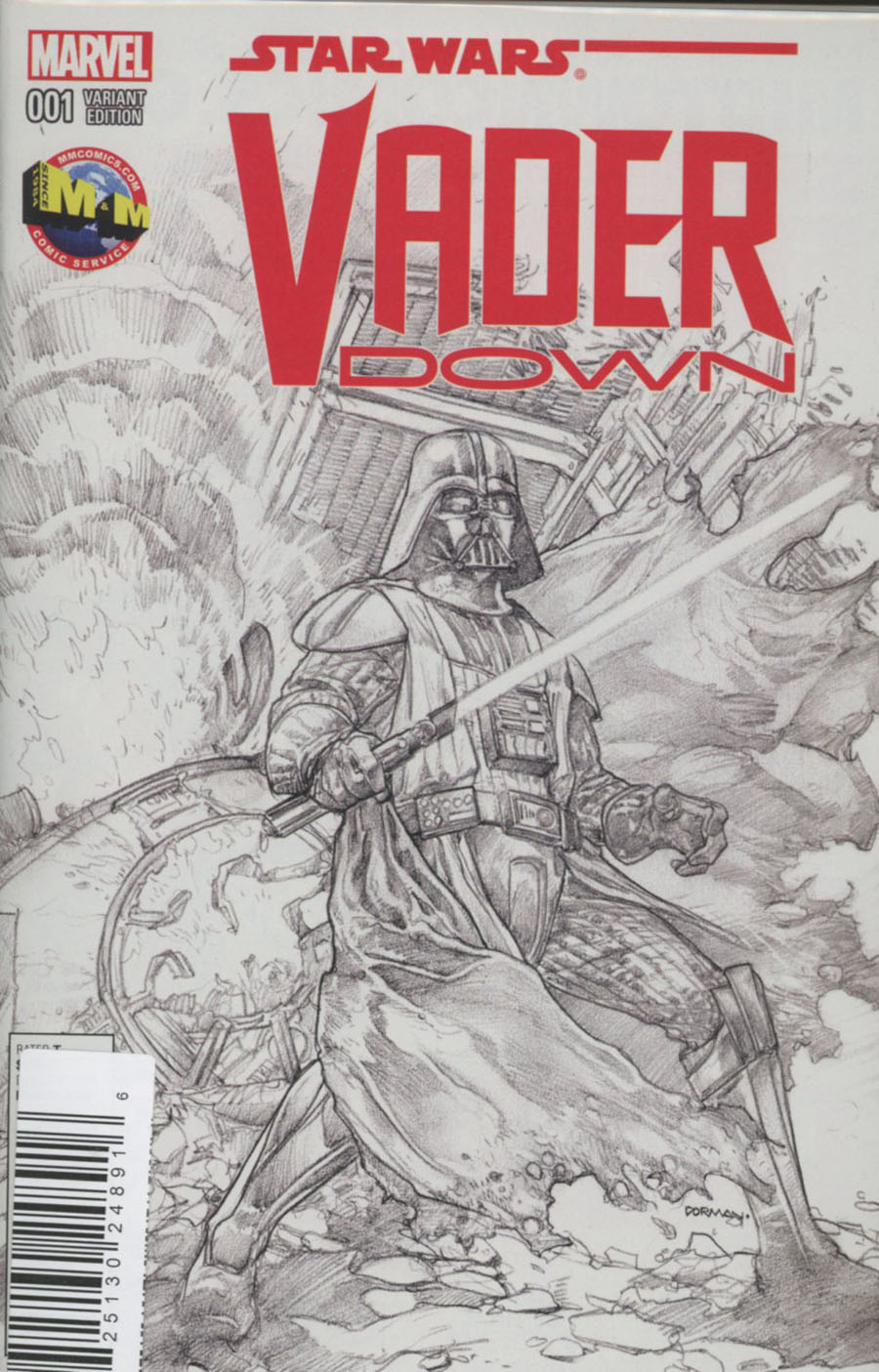 Star Wars Vader Down #1 Cover M DF M&M Exclusive Dave Dorman Black & White Variant Cover