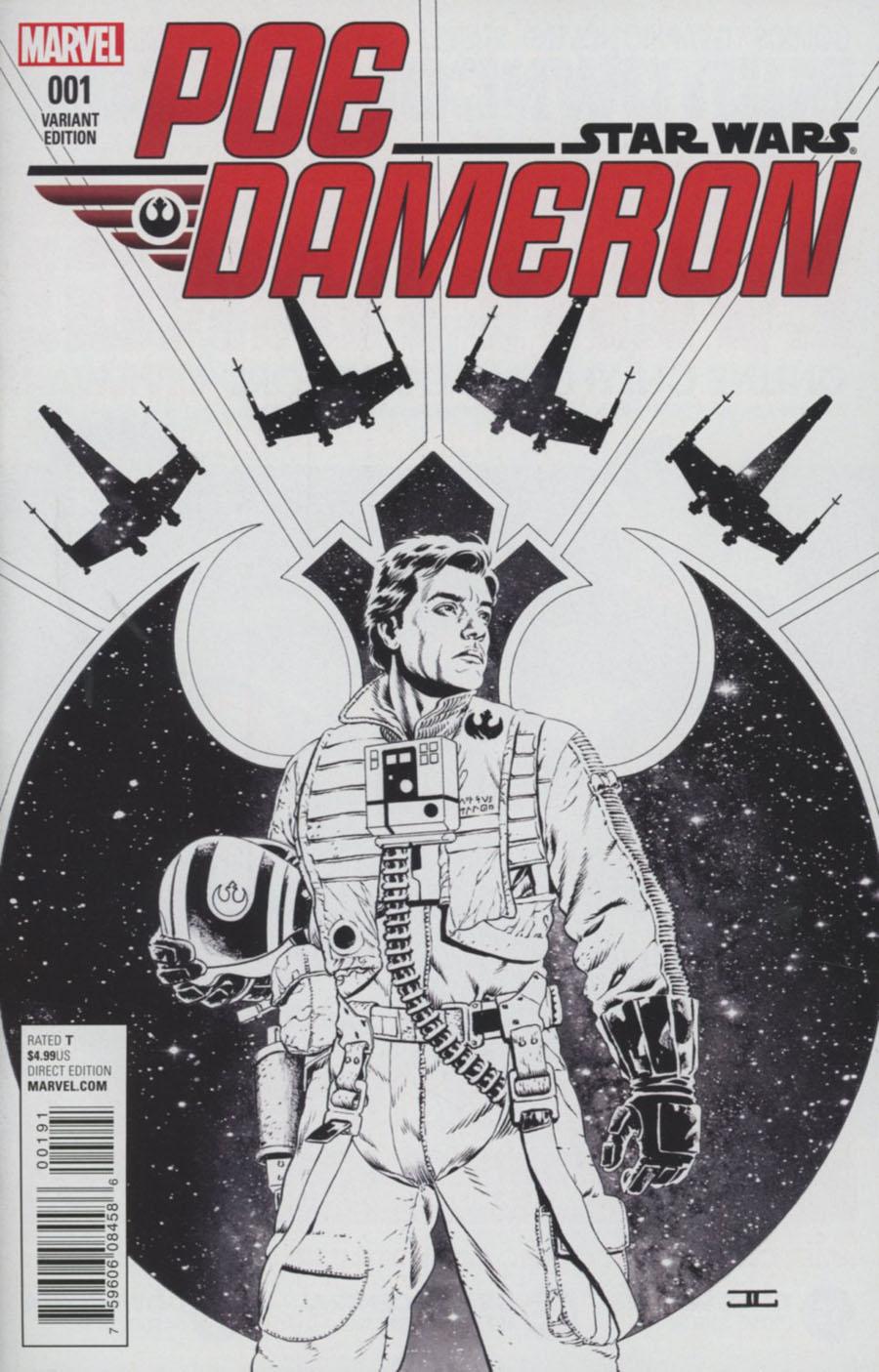 Star Wars Poe Dameron #1 Cover J Incentive John Cassaday Sketch Variant Cover