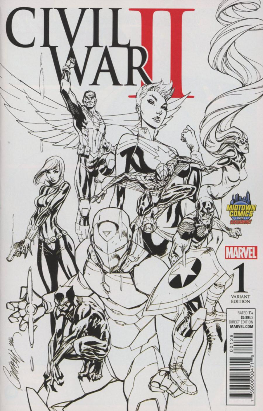 Civil War II #1 Cover C Midtown Exclusive J Scott Campbell Sketch Variant Cover