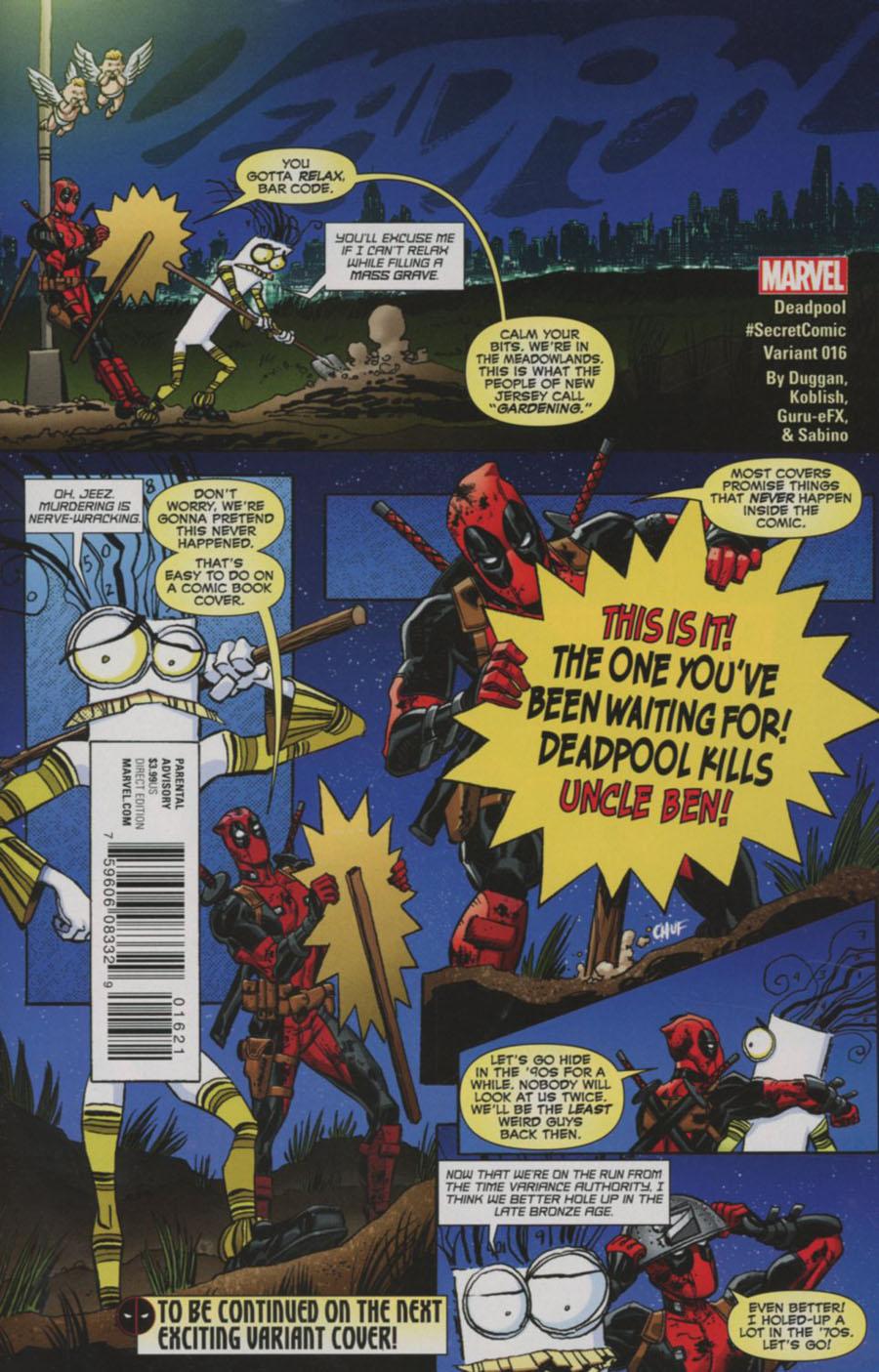 Deadpool Vol 5 #16 Cover B Variant Scott Koblish Secret Comic Cover (Civil War II Tie-In)