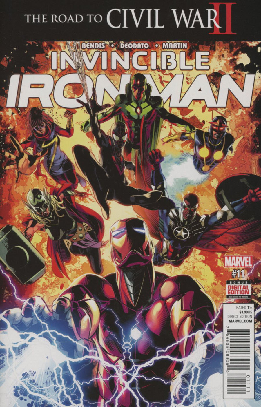 Invincible Iron Man Vol 2 #11 Cover A 1st Ptg Regular Mike Deodato Jr Cover (Road To Civil War II Tie-In)