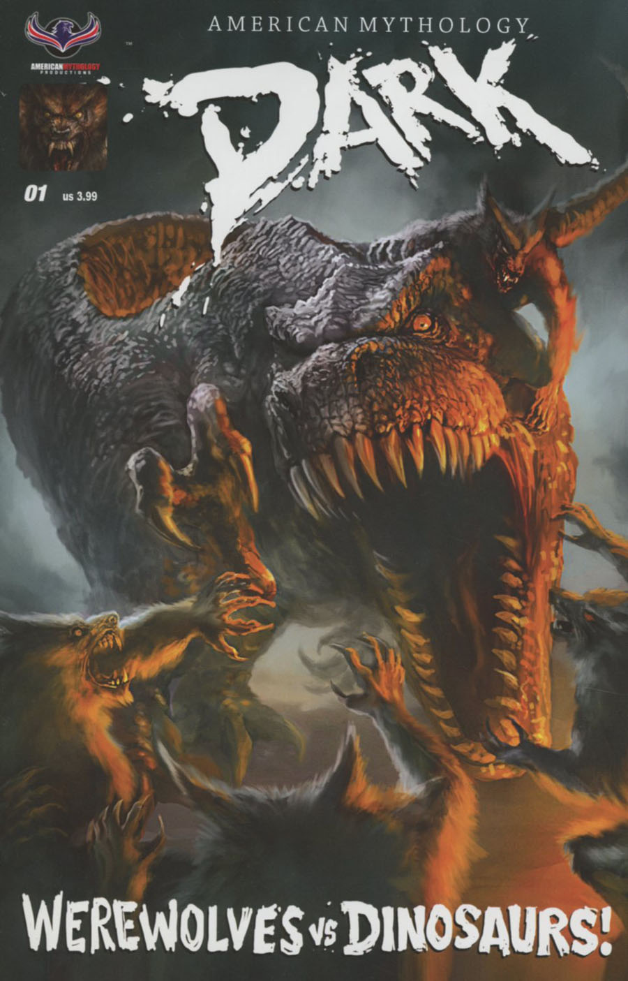 American Mythology Dark Werewolves vs Dinosaurs #1 Cover A Regular Chris Scalf Cover