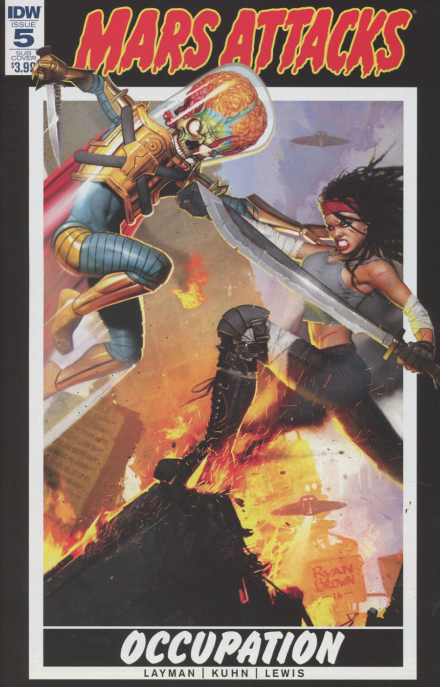 Mars Attacks Occupation #5 Cover B Variant Ryan Brown Throwback Card Subscription Cover