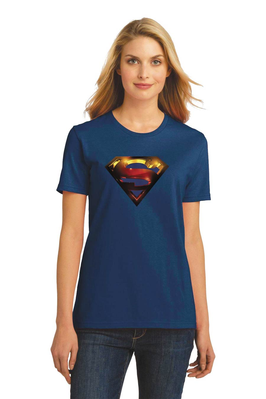 Supergirl 3-D Symbol Womens T-Shirt Large