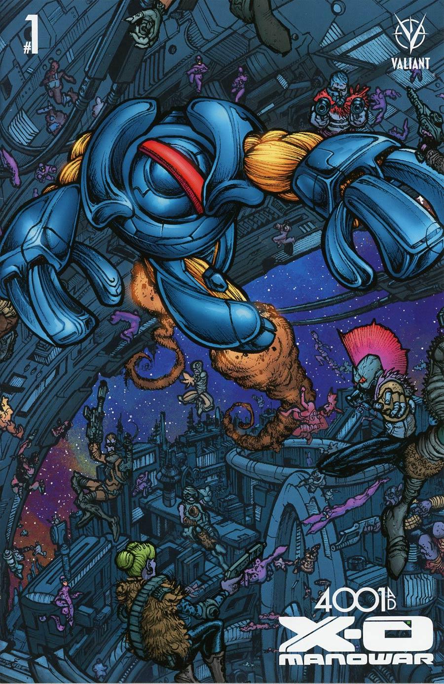 4001 AD X-O Manowar #1 Cover D Incentive Ryan Lee Interlocking Mega-Cover Variant Cover