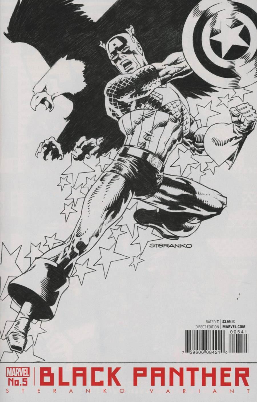 Black Panther Vol 6 #5 Cover C Variant Jim Steranko Captain America Black & White Cover