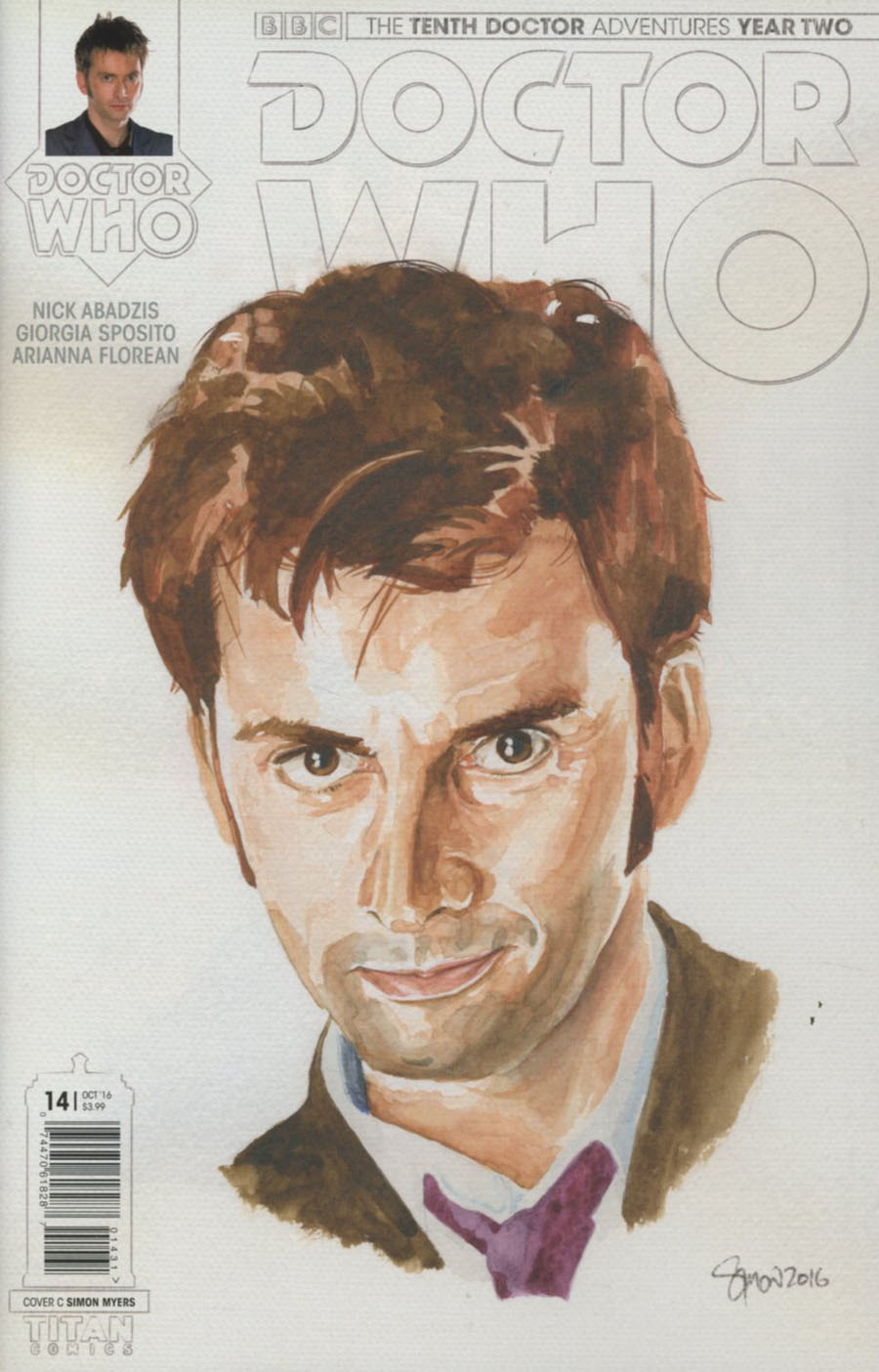Doctor Who 10th Doctor Year Two #14 Cover C Variant Simon Myers Watercolor Cover