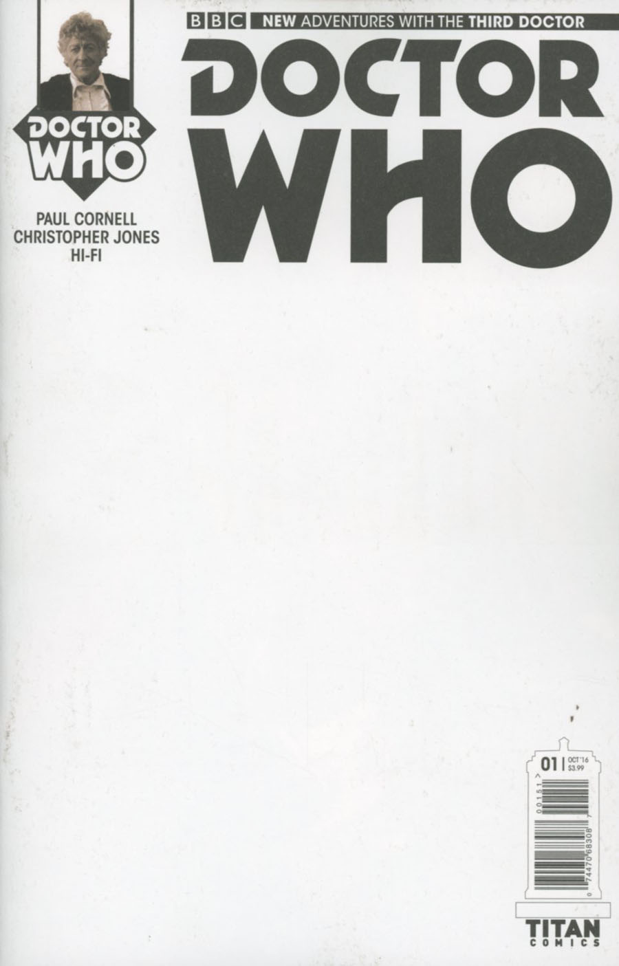 Doctor Who 3rd Doctor #1 Cover E Variant Blank Cover