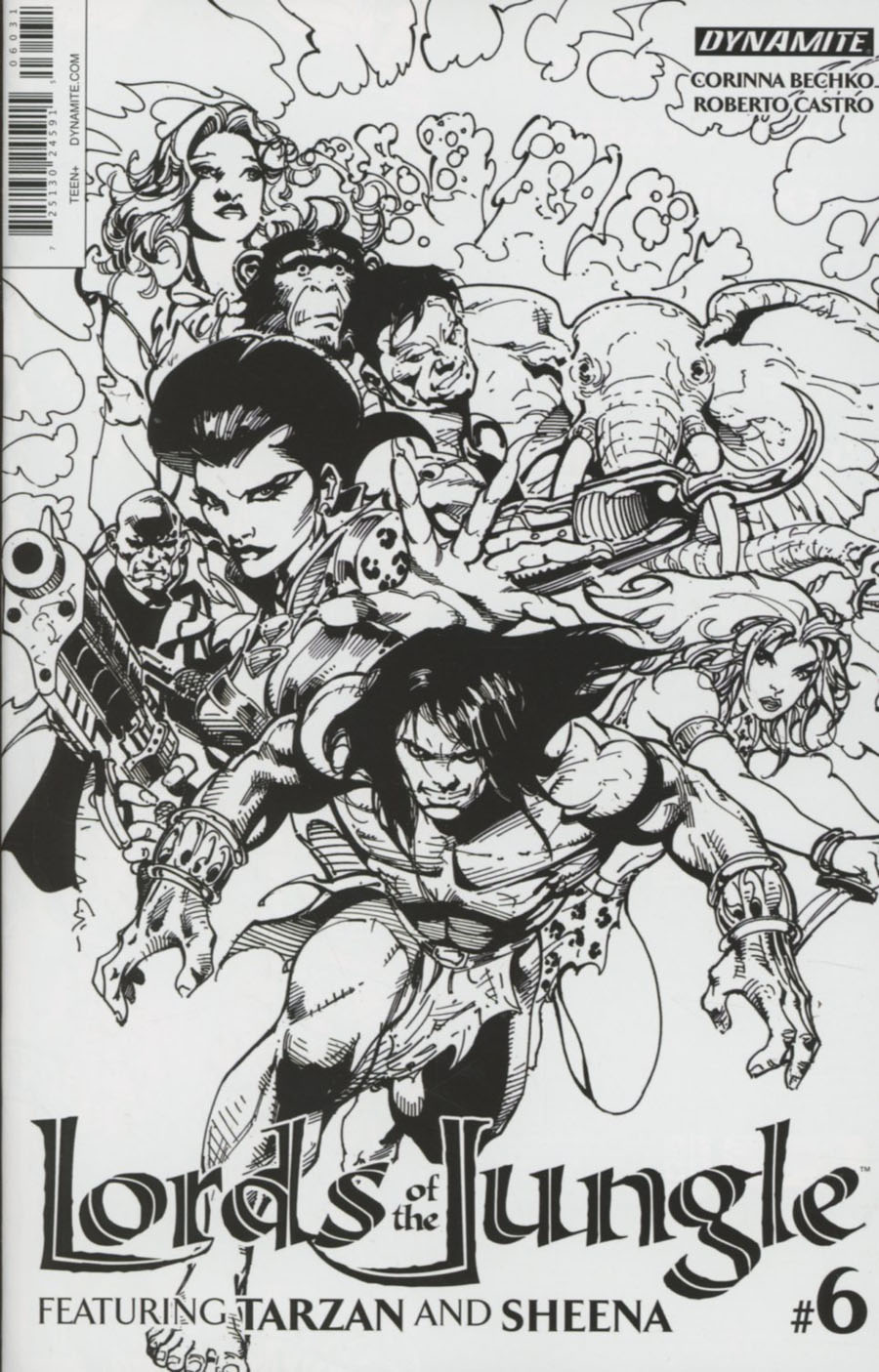 Lords Of The Jungle #6 Cover C Incentive Roberto Castro Black & White Cover