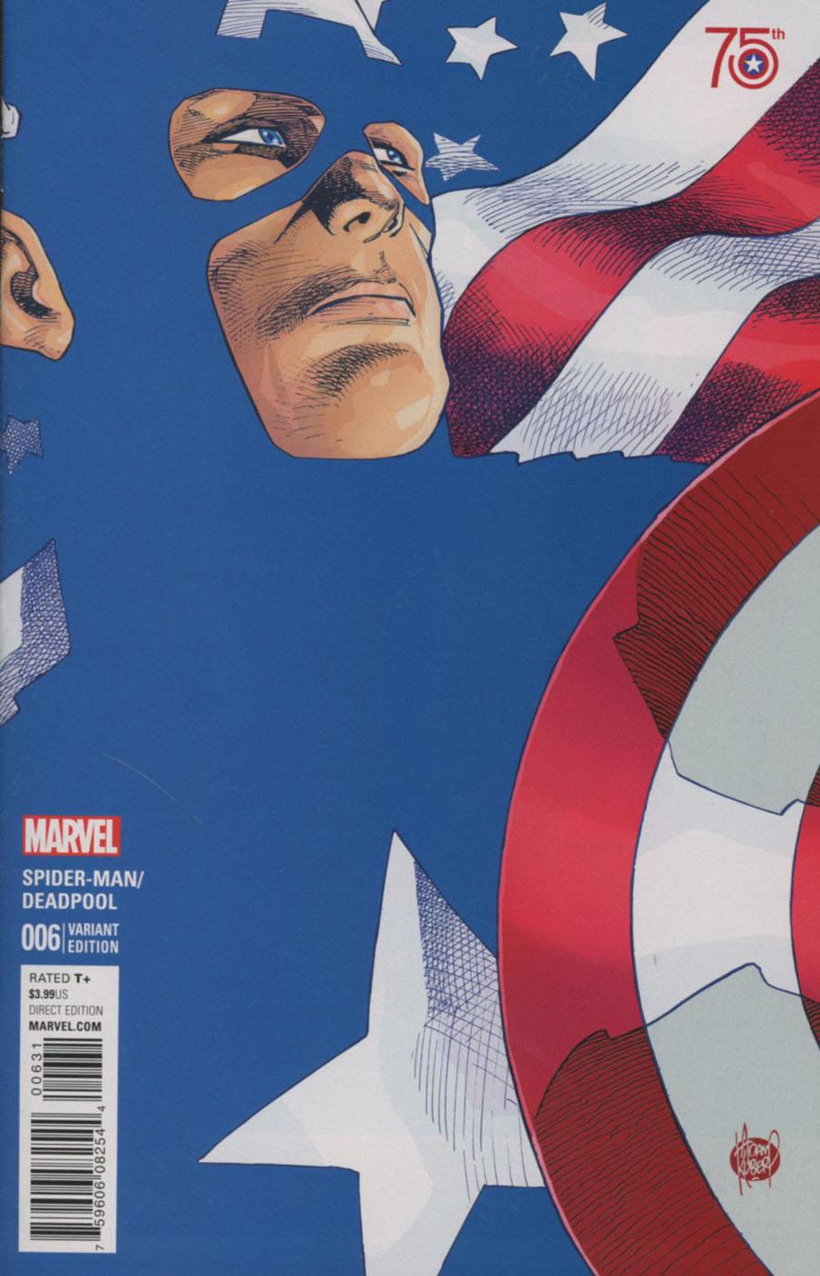 Spider-Man Deadpool #6 Cover B Incentive Adam Kubert Captain America 75th Anniversary Variant Cover