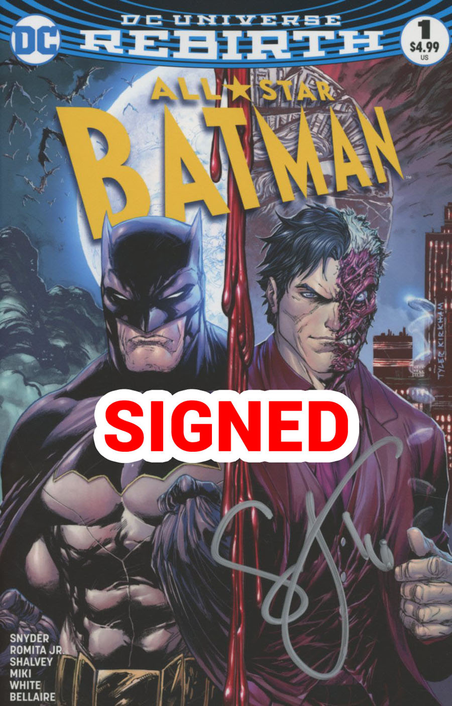 All-Star Batman #1 Cover M Midtown Exclusive Tyler Kirkham Color Variant Cover Signed By Scott Snyder