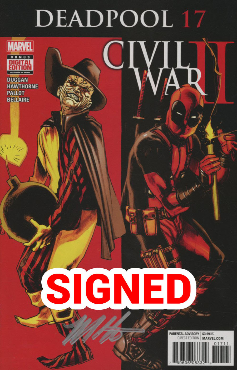 Deadpool Vol 5 #17 Cover D Regular Rafael Albuquerque Cover Signed By Mike Hawthorne (Civil War II Tie-In)