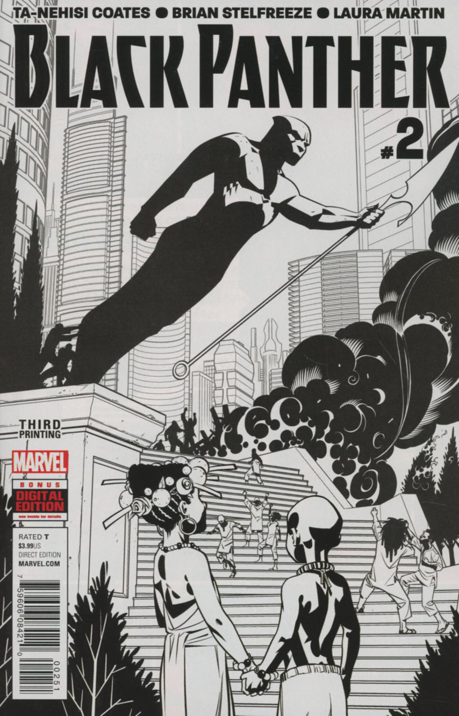 Black Panther Vol 6 #2 Cover F 3rd Ptg Brian Stelfreeze Black & White Variant Cover