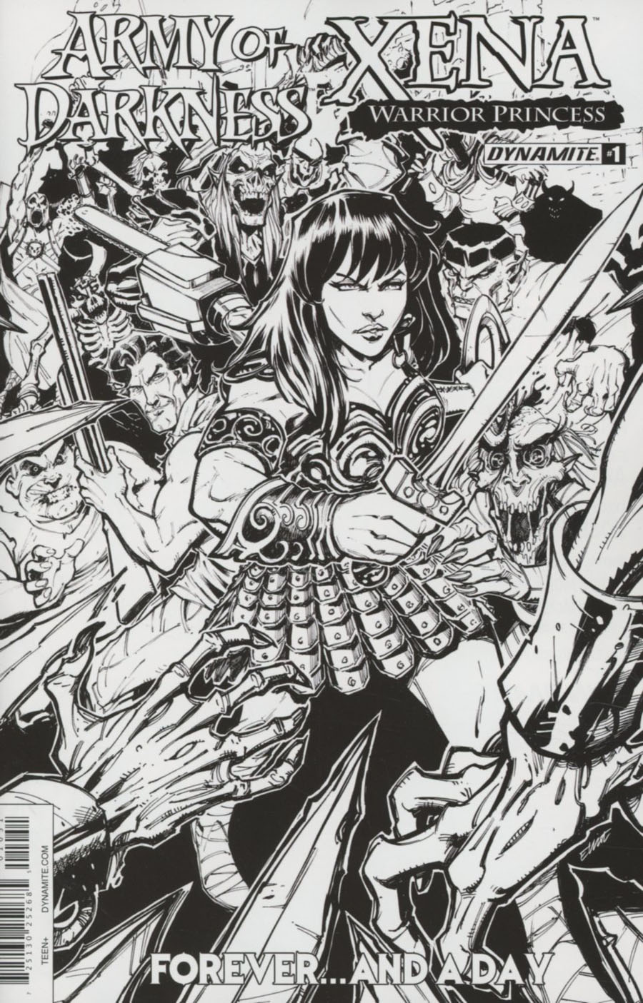 Army Of Darkness Xena Forever And A Day #1 Cover E Incentive Elliot Fernandez Black & White Cover