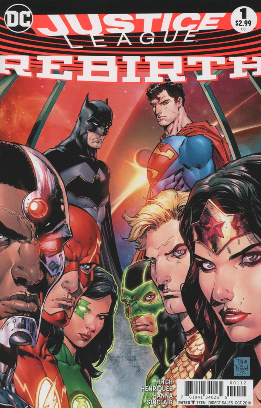 Justice League Rebirth #1 Cover C 2nd Ptg Tony S Daniel Variant Cover