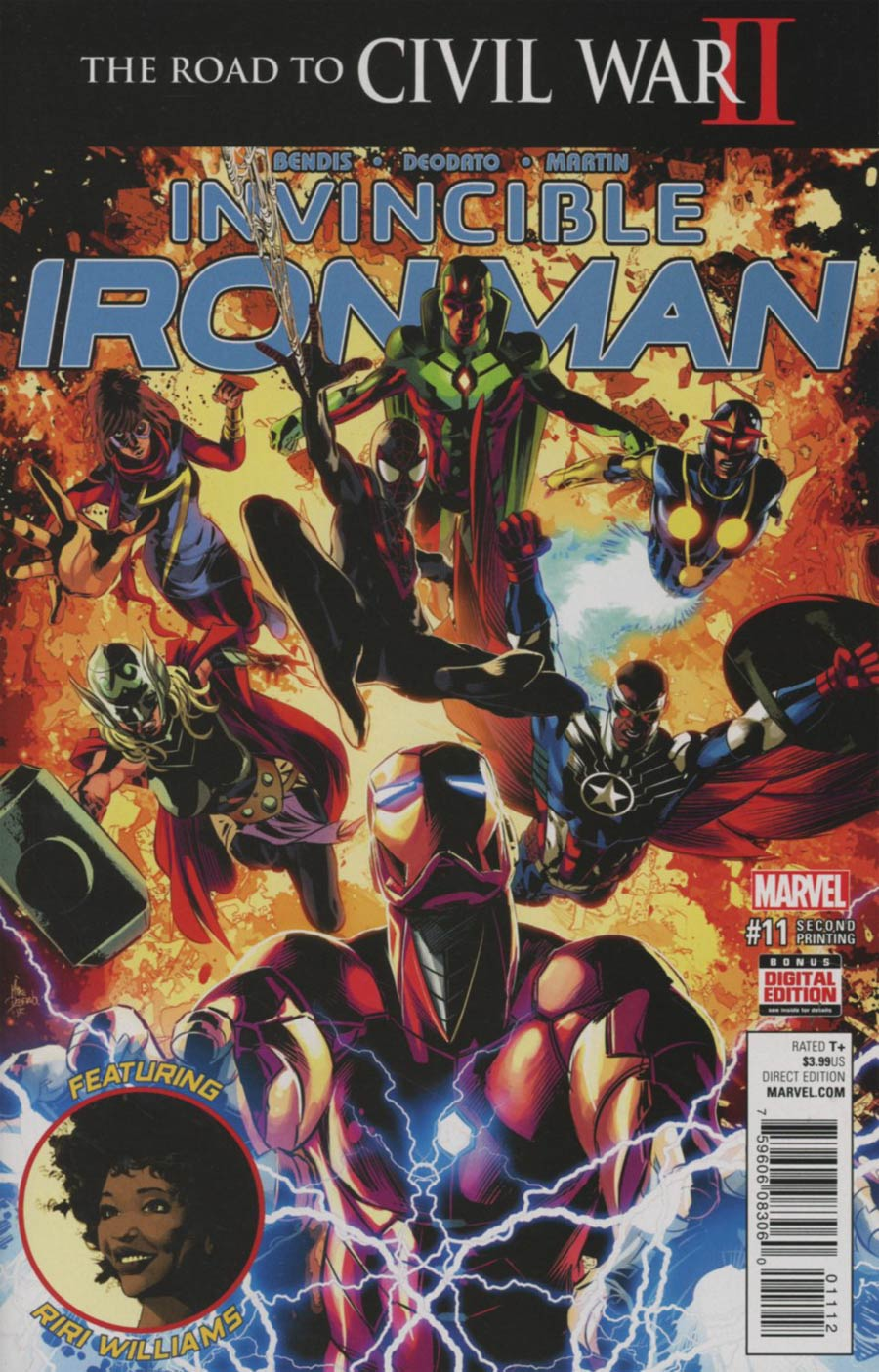 Invincible Iron Man Vol 2 #11 Cover C 2nd Ptg Mike Deodato Variant Cover (Road To Civil War II Tie-In)