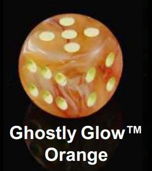 Ghostly Glow Orange/Yellow Polyhedral 7-Die Set