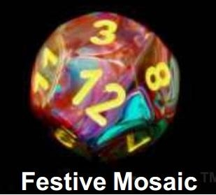 Festive Mosaic/Yellow Bag of 20 Assorted Dice