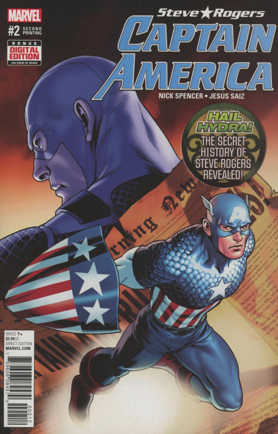 Captain America Steve Rogers #2 Cover C 2nd Ptg Jesus Saiz Variant Cover