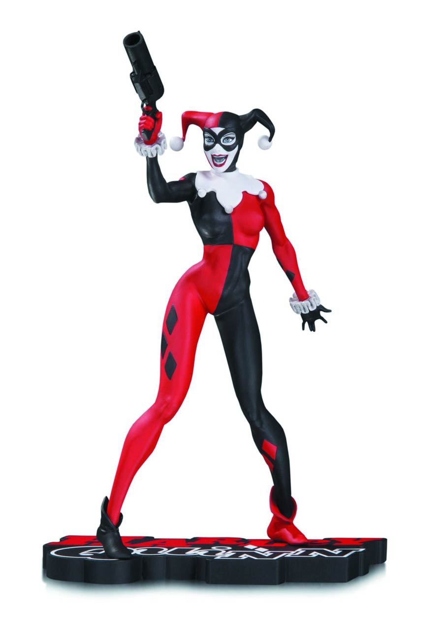 Harley Quinn Red White And Black Statue By Jim Lee
