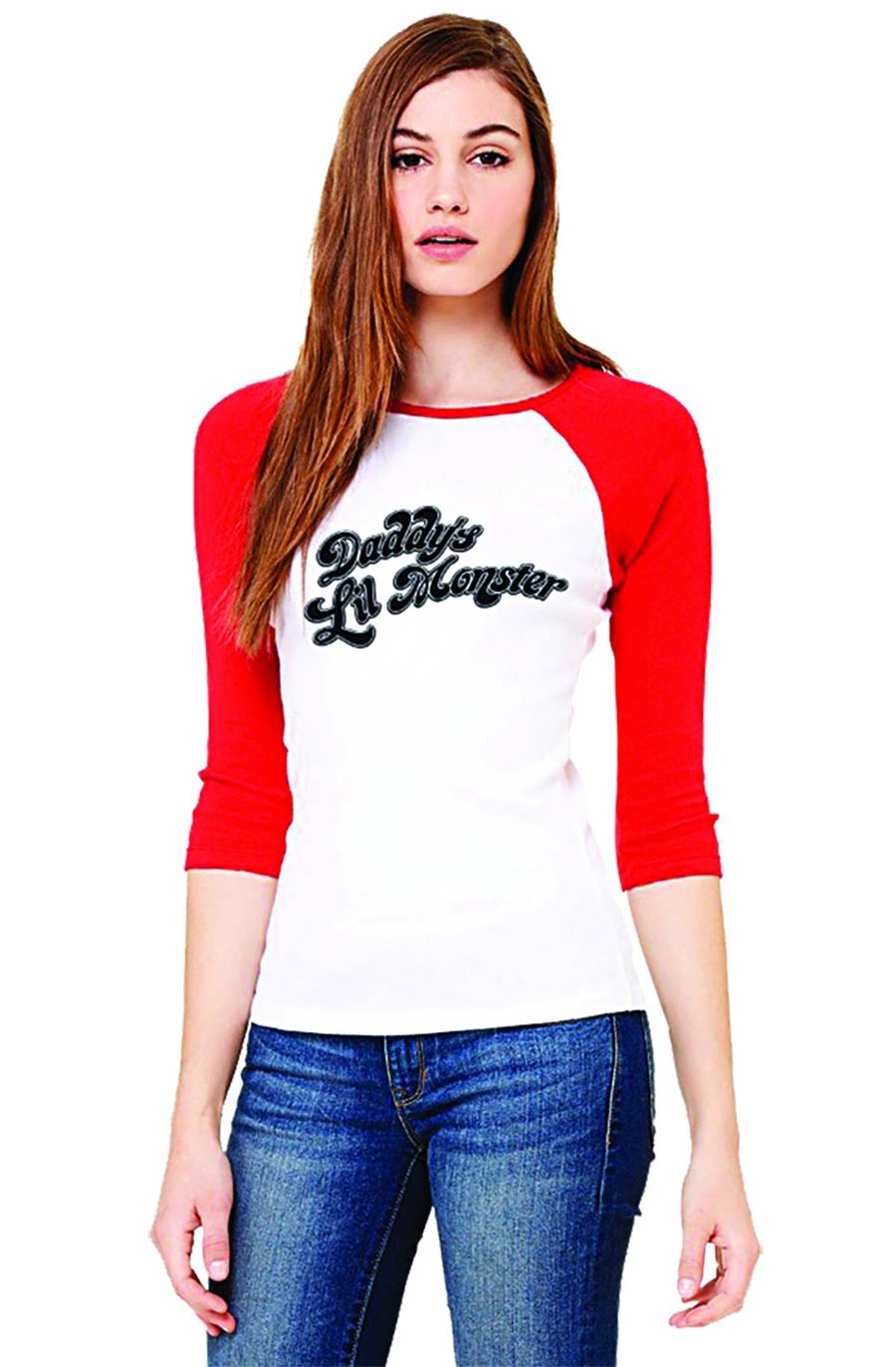 Suicide Squad Harley Quinn Daddys Lil Monster Baseball T-Shirt Large