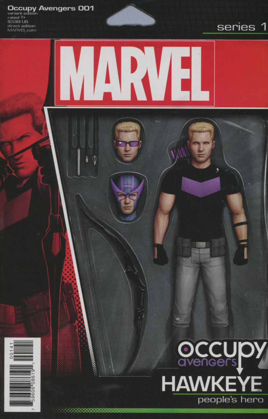 Occupy Avengers #1 Cover C Variant John Tyler Christopher Hawkeye Action Figure Cover (Marvel Now Tie-In)