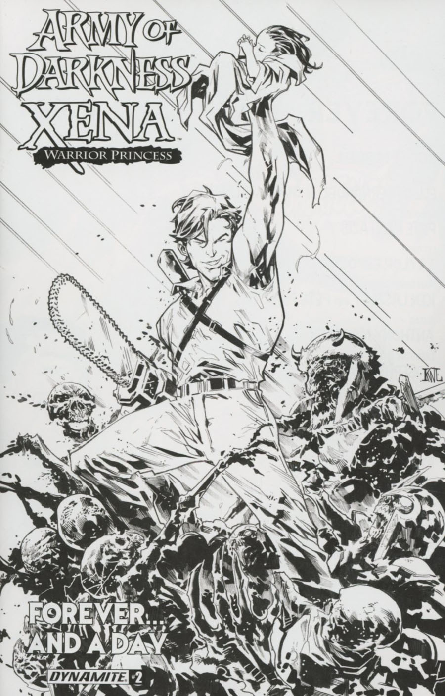 Army Of Darkness Xena Forever And A Day #2 Cover B Incentive Ken Lashley Black & White Cover