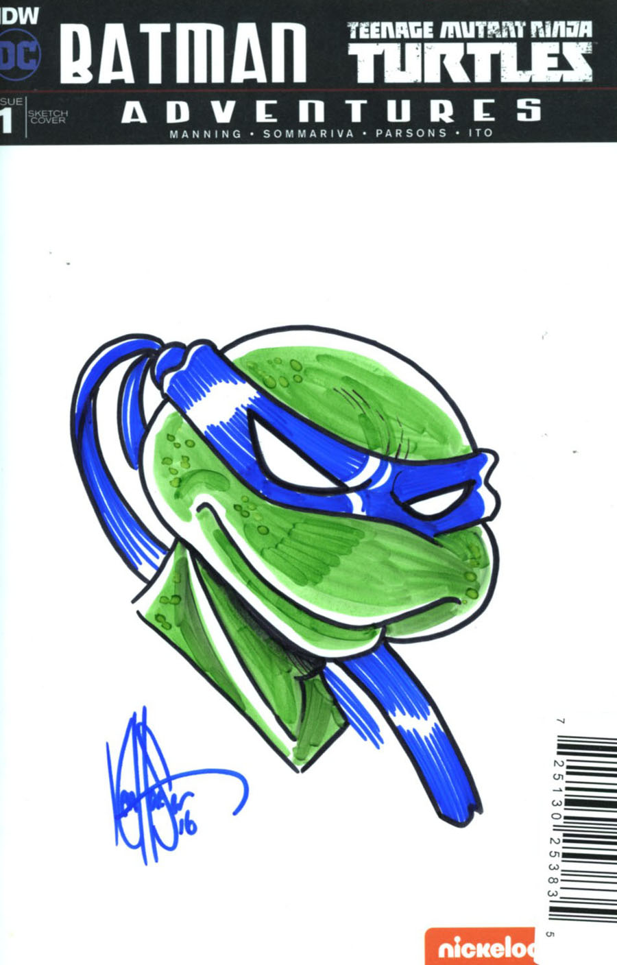 Batman Teenage Mutant Ninja Turtles Adventures #1 Cover I DF Blank & Remarked Ken Haeser Turtle Hand-Drawn Sketch Variant Cover