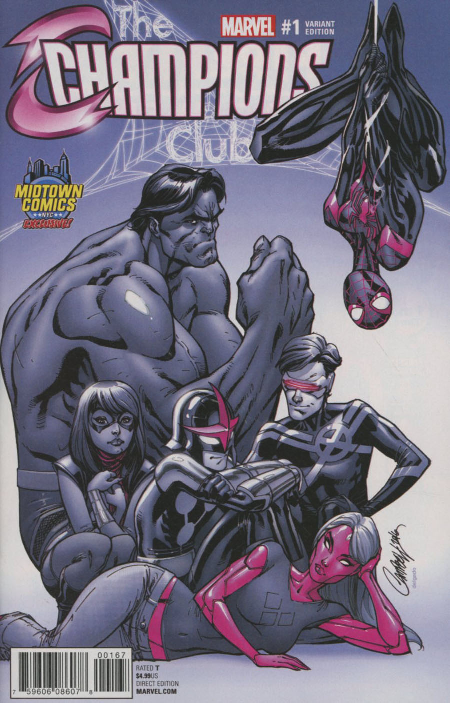 Champions (Marvel) Vol 2 #1 Cover C Midtown Exclusive J Scott Campbell Monochromatic Variant Cover (Marvel Now Tie-In)