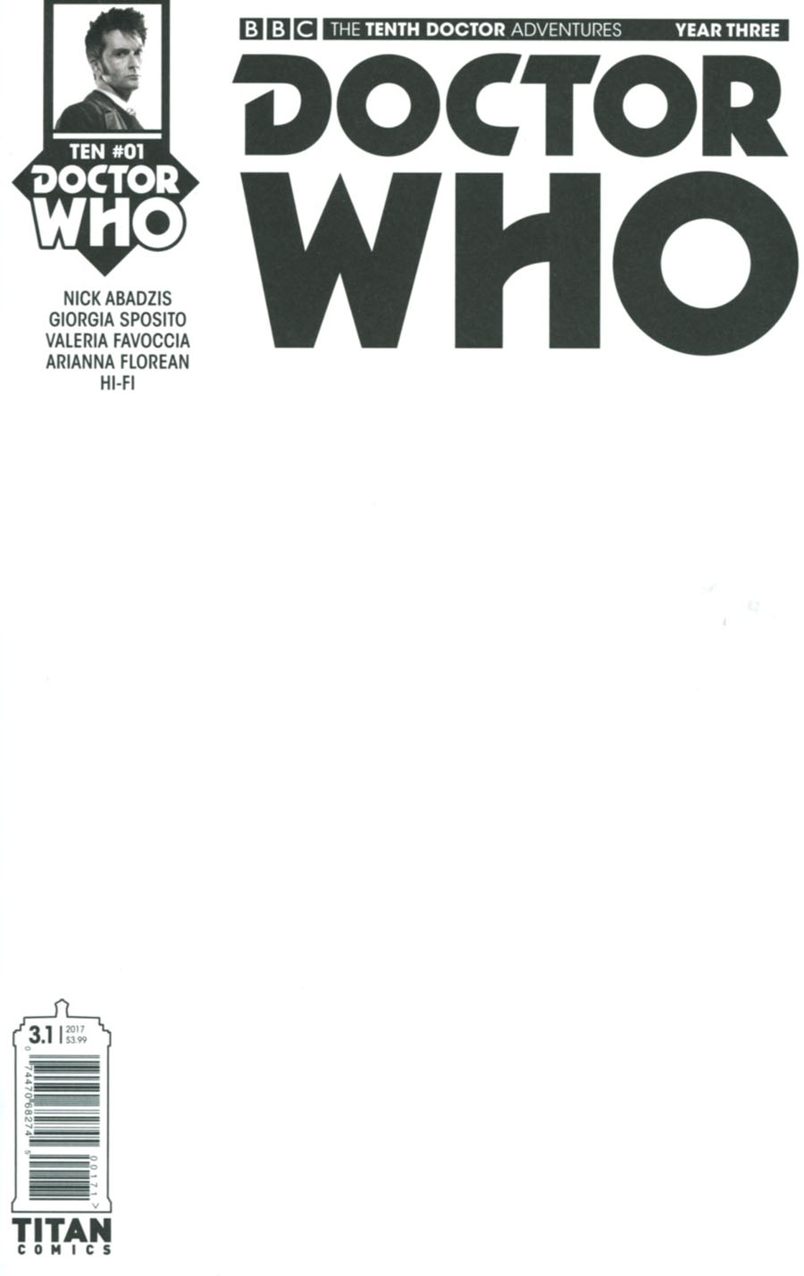 Doctor Who 10th Doctor Year Three #1 Cover G Variant Blank Cover
