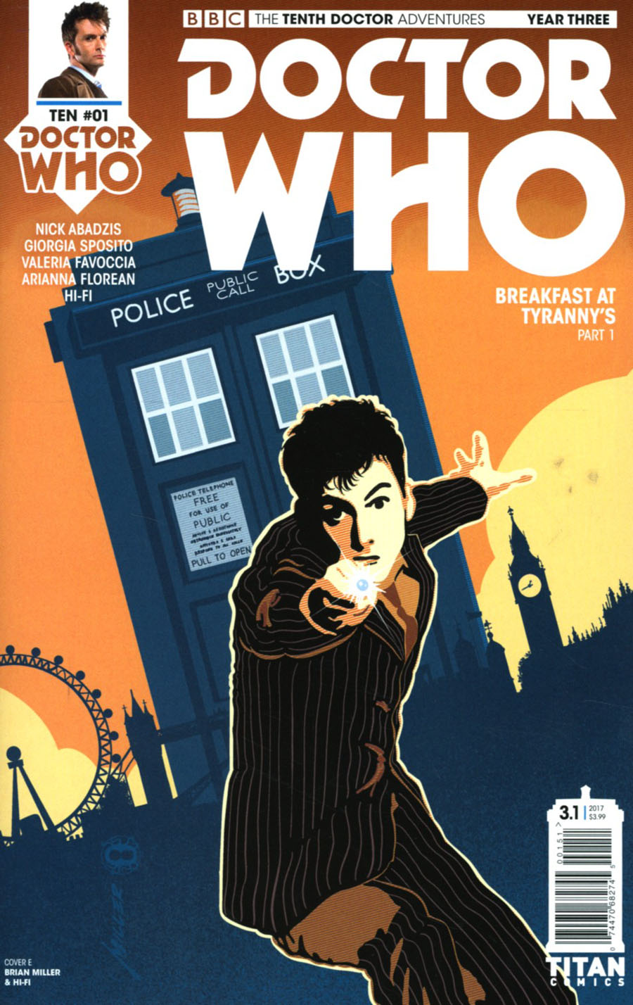 Doctor Who 10th Doctor Year Three #1 Cover E Variant Brian Miller & Hi-Fi Cover